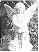 "10"" Standing Angel on Rock"