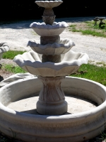 3 Tier Tulip Fountain in Large Pool Ring Basin