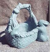 Rectangle Concrete Basket with Rabbit