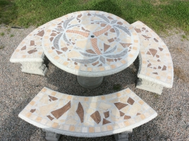 tbs113 Palm Tree Mosaic Table Set