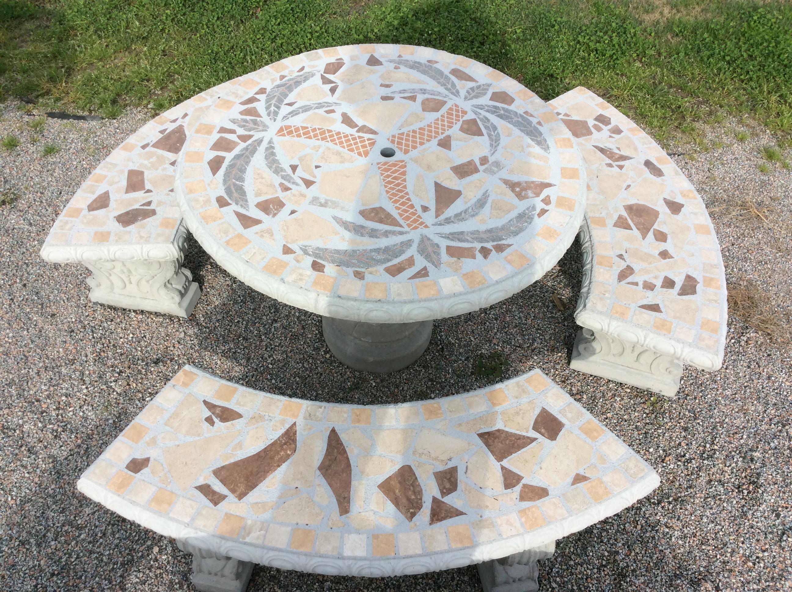 Tbs112 Palm Tree Mosaic Table Set The Cement Barn
